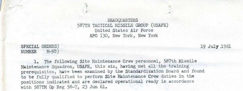 Special Order M-50 (587th TMG / HQ)