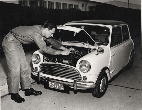 Lee Kyser tunes up his Mini-Cooper racing car (photo courtesy of Lee Kyser)