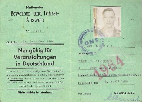 German Competition License (photo courtesy of Lee Kyser)