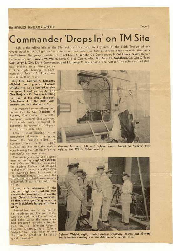 "585th TMG Bitburg – Commander ""Drops In"" On TM Site"