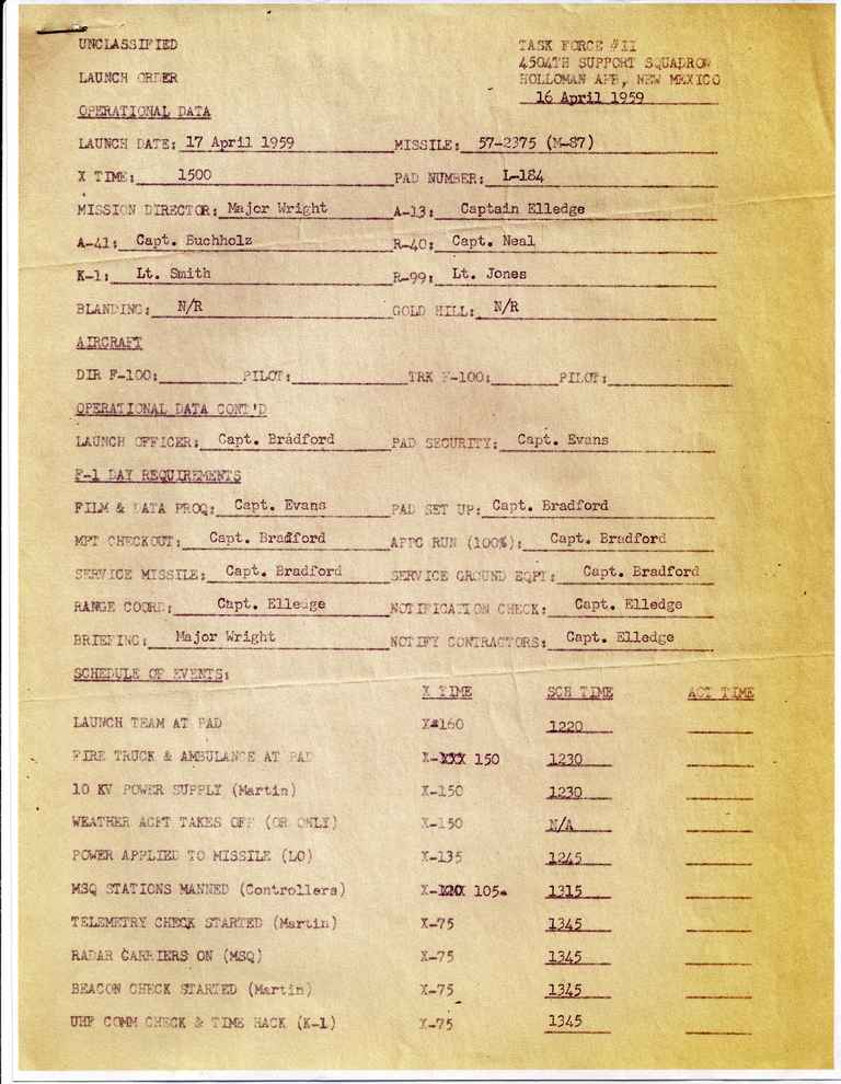 Launch Order (4504th Support Squadron / Holloman)