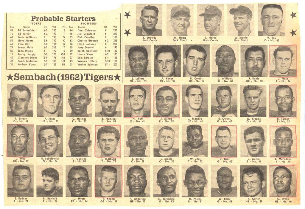 Sembach Tigers - 1962 (article courtesy of Bud Fellers)