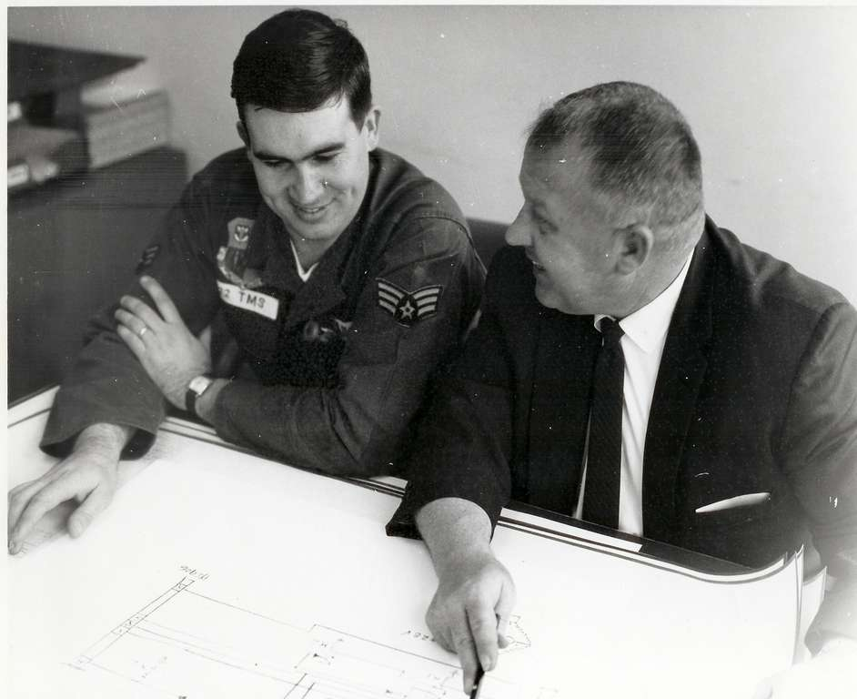 """Beetle"" Bailey and Jack Coniff designing the electronic circuitry."
