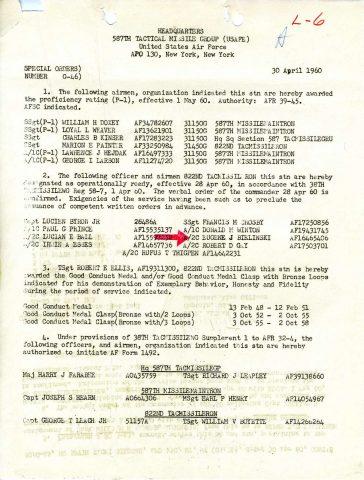 Special Order G-46 (Courtesy of Gene Bielinski)