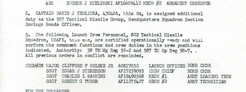 Special Order M-91 (587th TMG / HQ)
