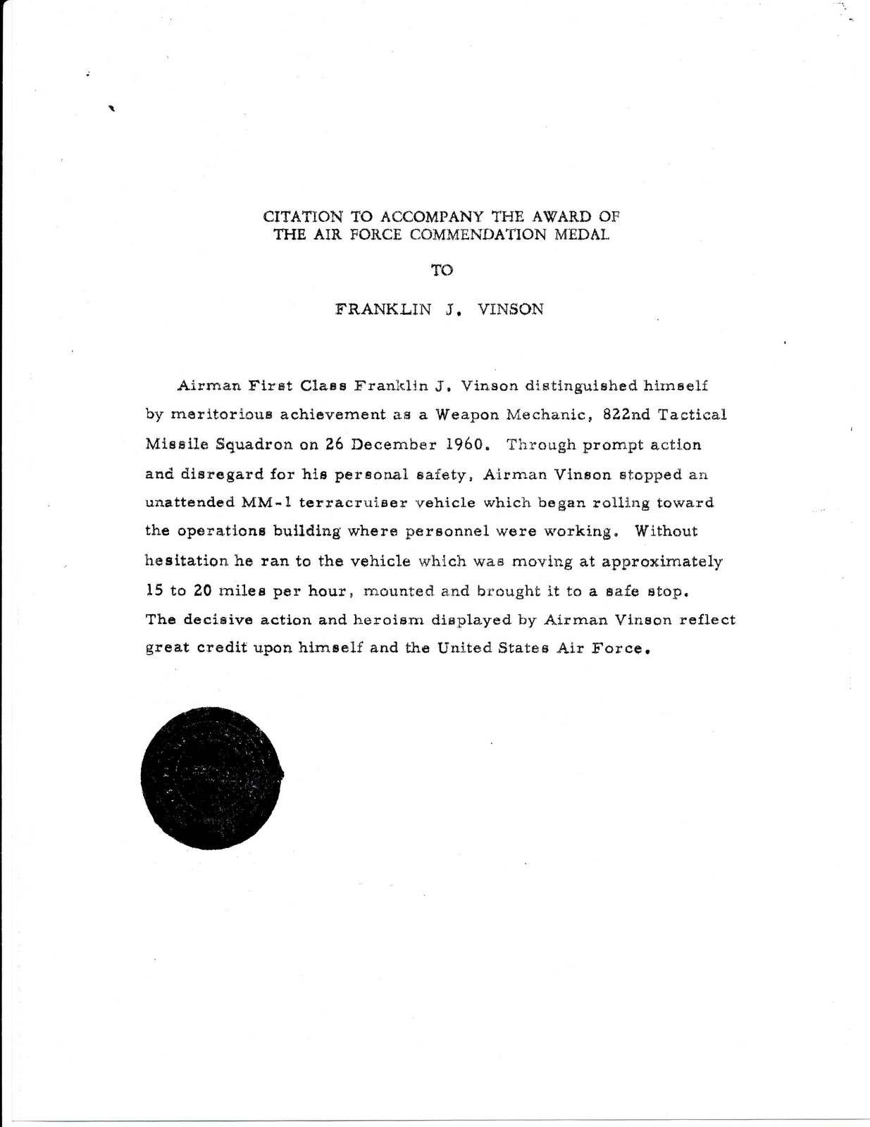 Edwards Citation For Af Commendation Medal
