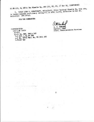 Special Order G-129 (Courtesy of Franklin Vinson)