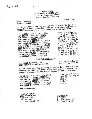 Special Order G-22 (Courtesy of Franklin Vinson)