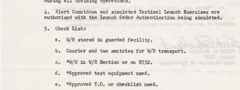 TM-76A Nuclear Safety Checklist