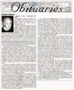 Bob Bland's Obituary (Courtesy of Lee Kyser)