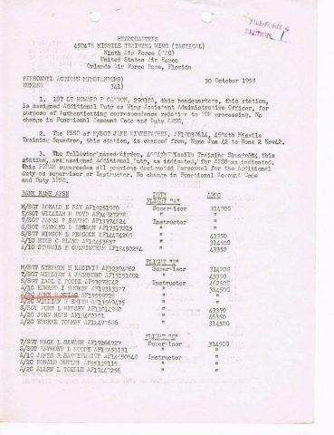 Personnel Actions Memorandum 341 (Courtesy of John Mulac)