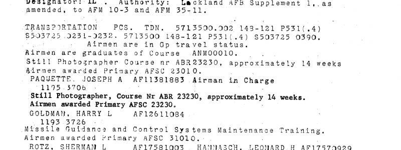 Special Order A-9041 (Lackland ATC)