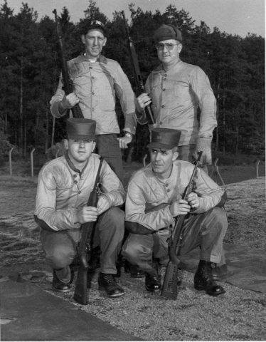 Sembach Rifle team. MSgt. James Cazel bottom right. Others unknown. Circa 1960