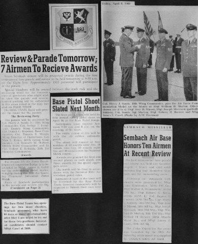 Sembach Missileer April 8, 1960 - Ten Airmen Honored at Review