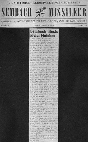 Sembach Missileer Friday October 7, 1960 - Sembach Hosts Pistol Matches