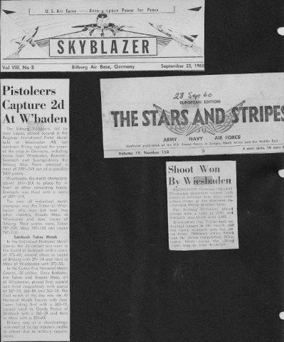Pistoleers Capture 2d at W'Baden 23 Sept 1960 - Jim Cazel, Sembach wins .22