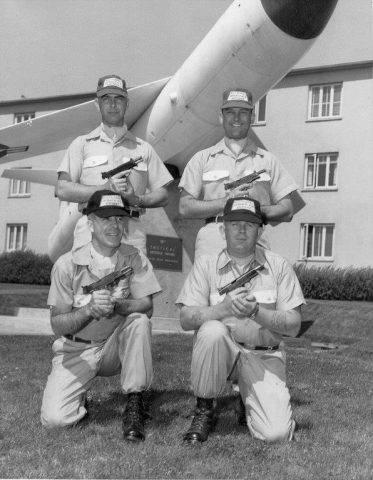 Sembach, A.B. Pistoleers. Top Left to Right: SSgt. Dale Mellinger - Field Maintenance; SSgt. Dave Hollandsworth - Base Range. Bottom Left to Right: MSgt. James Cazel - Base Comm.; SSgt. Gordon G. Peden-Air Police.