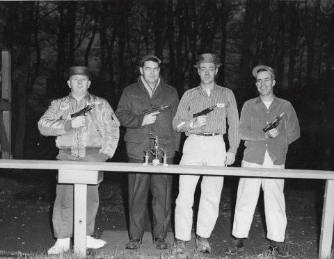 Sembach AB, Pistol team. Photo taken at Wiesbaden 11 Dec.1960. Left to right: SSgt. Gordon G.Peden - Air Police, SSgt. Dale Mellinger - Field Maintenance. SSgt. Dave Hollandsworth - Base Range, MSgt. J. Cazel- Base Comm.
