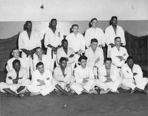 Sembach Judo Team Judoka. MSgt. James Cazel second row, first from right to left. Others unknown. Circa 1961