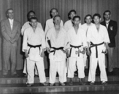 Sembach Air Base Judo team. MSgt James Cazel, suit and tie on left. Others unknown. Circa 1961